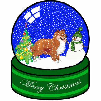 sheltie snow globe photo sculpture decoration