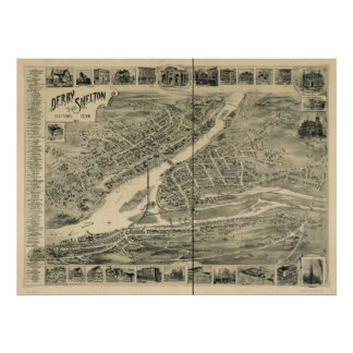 Shelton Connecticut 1898 Antique Panoramic Map Poster
