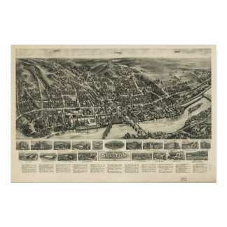 Shelton Connecticut 1919 Antique Panoramic Map Poster