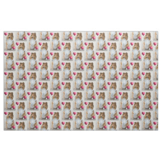 Shelty with hearts fabric