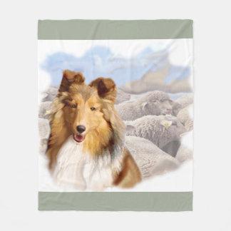 Shelty With Sheep Fleece Blanket