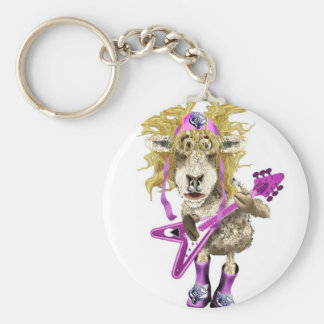 Shep Shagga Rock n Roll sheep Basic Round Button Key Ring