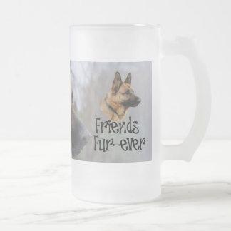 """sheperd beer jug """"Friends Fur more ever"""" glass jug Frosted Glass Mug"""