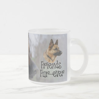 "sheperd ""Friends Fur more ever"" glass Frosted Glass Mug"