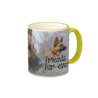 "sheperd ""Friends Fur more ever "" Ringer Mug"