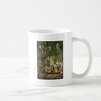 Shephard with flock in olive grove, Mentone, River Coffee Mugs
