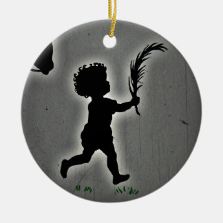 Shepherd Boy Carrying a Palm Frond Round Ceramic Decoration