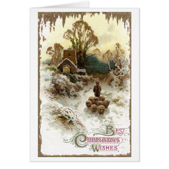Shepherd Herding Sheep Vintage Christmas Card