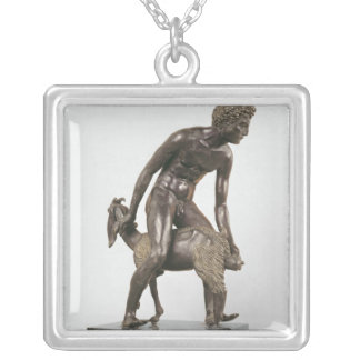 Shepherd milking a goat silver plated necklace