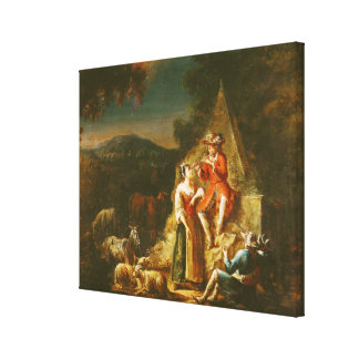 Shepherd Playing a Flute Canvas Print
