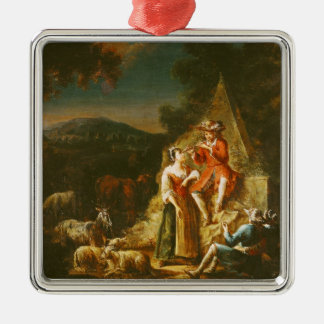 Shepherd Playing a Flute Silver-Colored Square Decoration