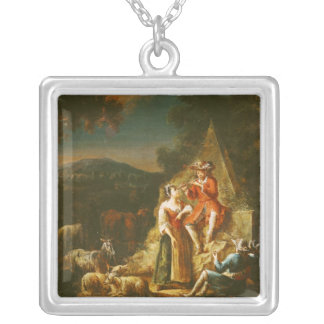 Shepherd Playing a Flute Silver Plated Necklace