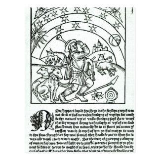 Shepherd under Sun, Moon and Stars Postcard
