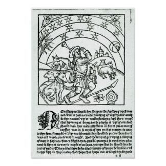 Shepherd under Sun, Moon and Stars Poster