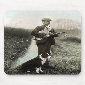 """Shepherd With Border Collie and Lamb""~Mousepad Mouse Mat"