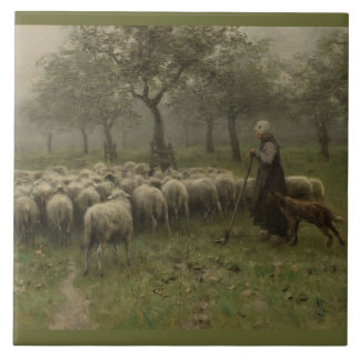 Shepherdess with a Flock of Sheep, Anton Mauve Tile