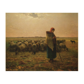 Shepherdess with her Flock, 1863 2 Wood Wall Art