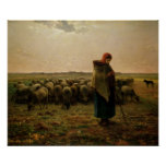Shepherdess with her Flock, 1863 Poster