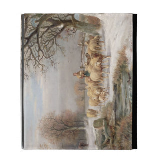 Shepherdess with her Flock in a Winter Landscape ( iPad Folio Covers