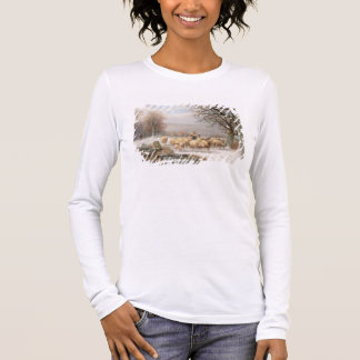 Shepherdess with her Flock in a Winter Landscape ( Long Sleeve T-Shirt