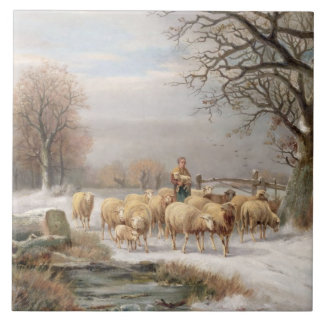 Shepherdess with her Flock in a Winter Landscape ( Tile