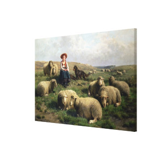 Shepherdess with Sheep in a Landscape Canvas Print