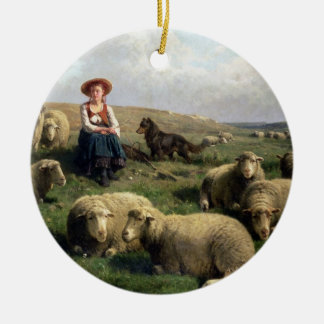 Shepherdess with Sheep in a Landscape Christmas Ornament