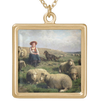 Shepherdess with Sheep in a Landscape Gold Plated Necklace