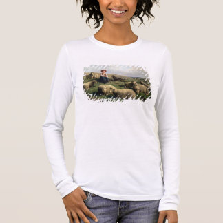 Shepherdess with Sheep in a Landscape Long Sleeve T-Shirt