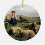 Shepherdess with Sheep in a Landscape Ornaments