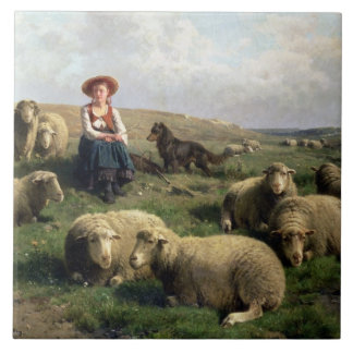 Shepherdess with Sheep in a Landscape Tile