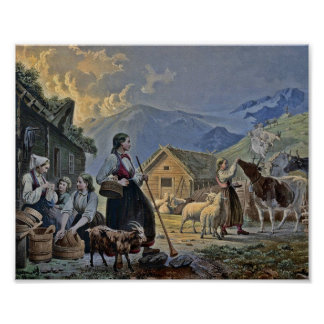 Shepherdess's Hut on the Mountain Poster