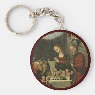 Shepherds Adoring Baby Jesus by Cranach Key Ring