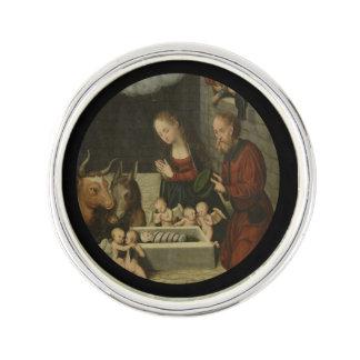Shepherds Adoring Baby Jesus by Cranach Lapel Pin