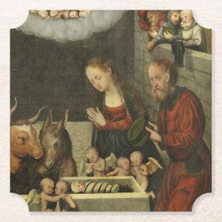 Shepherds Adoring Baby Jesus by Cranach Paper Coaster
