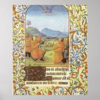 Shepherds in the fields near Bethlehem, mediaeval Poster