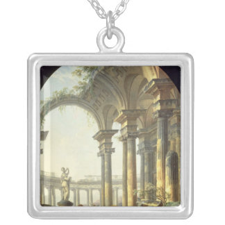 Shepherds with Animals in a Classical Landscape Silver Plated Necklace