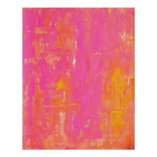 'Sherbet' Pink and Yellow Abstract Art Poster