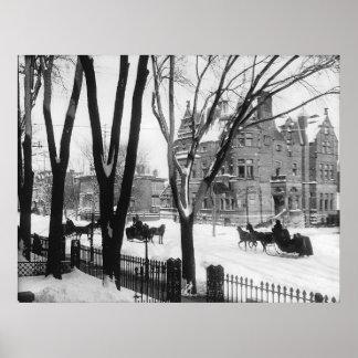 Sherbrooke Street in winter Montreal Notman - Posters