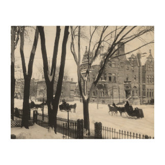 Sherbrooke Street in winter Montreal Notman - Wood Canvases