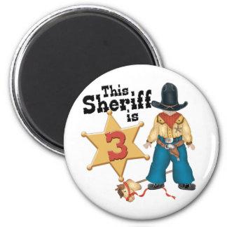 Sheriff 3rd Birthday 6 Cm Round Magnet