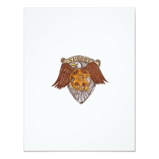 Sheriff Badge American Eagle Shield Drawing Card