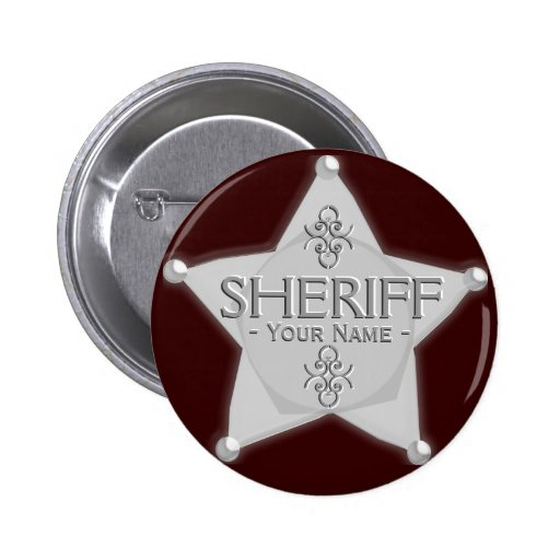 Sheriff Badge Wild West Party Button Silver