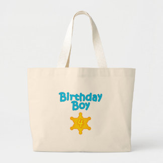 Sheriff Birthday Boy 4 Jumbo Tote Bag