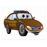 Sheriff Car Cartoon 4 BR Postcards