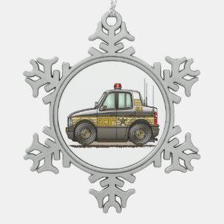 Sheriff Car Patrol Car Pewter Snowflake Decoration