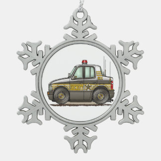 Sheriff Car Patrol Car Snowflake Pewter Christmas Ornament
