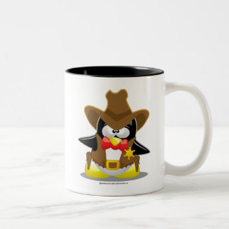 Sheriff Cowboy Penguin Two-Tone Coffee Mug