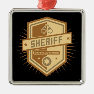 Sheriff Crest Silver-Colored Square Decoration