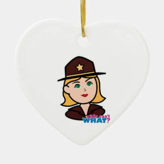 Sheriff Double-Sided Heart Ceramic Christmas Ornament